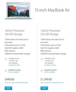 macbook air 2016 model upgrade