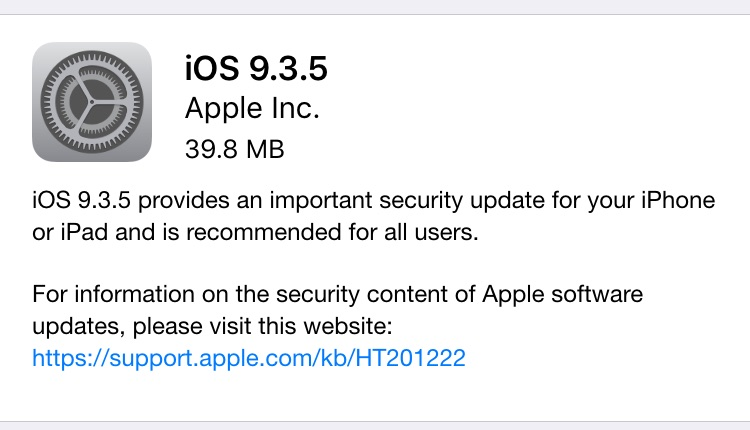 Download iOS 9.3.5 Update for iPhone