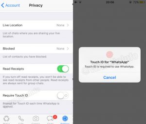whatsapp touch id face id feature