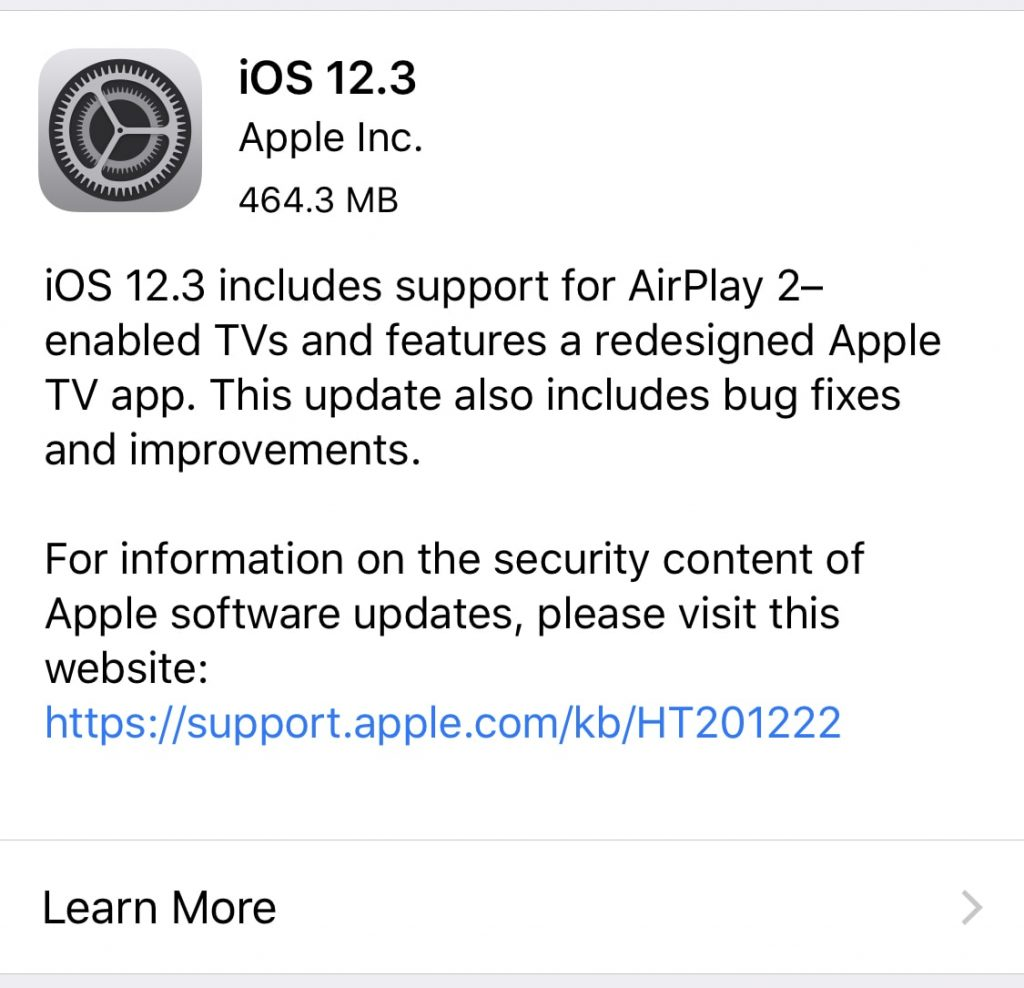 download ios 12.3 for iphone and ipad