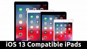 ios 13 compatible ipads list
