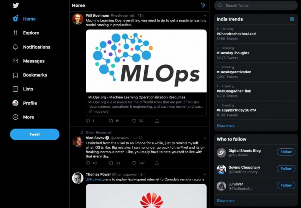 new twitter dark mode