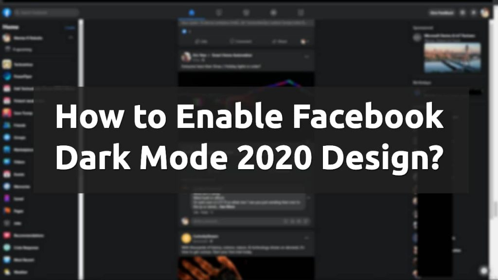 enable dark mode facebook 2020 design