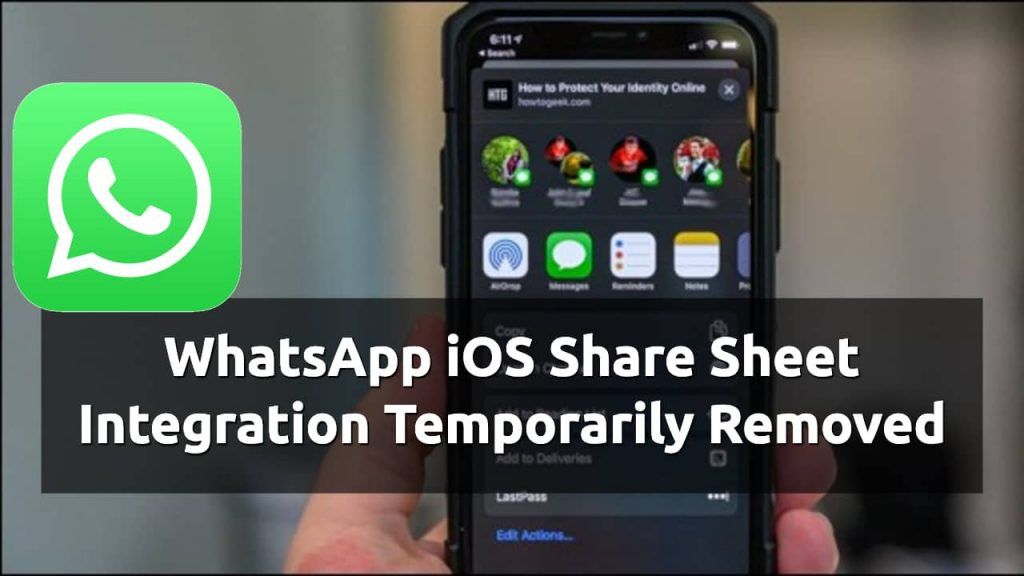 whatsapp ios share sheet removed