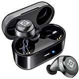 Wireless Earbuds 【Upgraded Graphene 3D Stereo Sound】 Bluetooth 5.0 with 28Hr Play Time Noise Cancelling HonShoop Lightweight Bluetooth Headphones Built-in Mic (Black) (Matte Black)