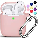 AirPods Case Cover with Keychain, Full Protective Silicone AirPods Accessories Skin Cover for Women Girl with Apple AirPods Wireless Charging Case,Front LED Visible-Pink Sand