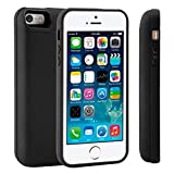 iPhone 5 5S 5C SE Battery Case[4000mAh] Rechargeable Extended Battery Pack Charging Case Protective Backup Power Bank Portable Charging Case Ultra Thin Charger Wireless Charging Case, Black