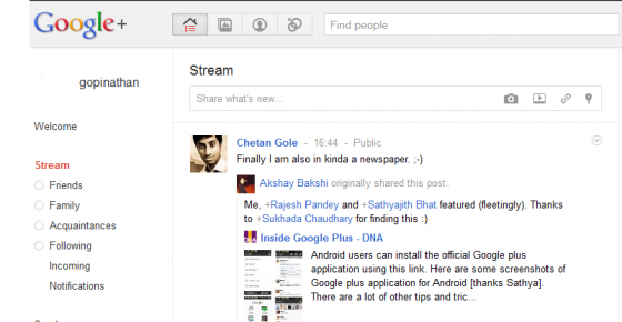 Google plus stream