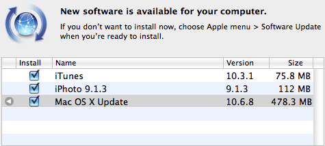 MAC OS X Software upgrade