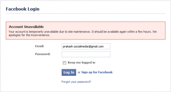facebook login message