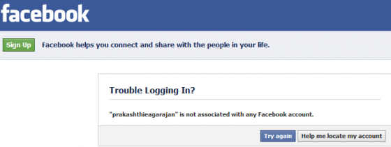 facebook login trouble