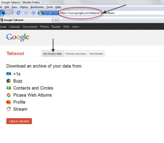 google takeout screen