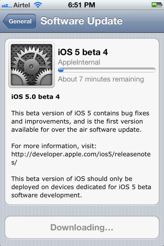 ios5 beta 4