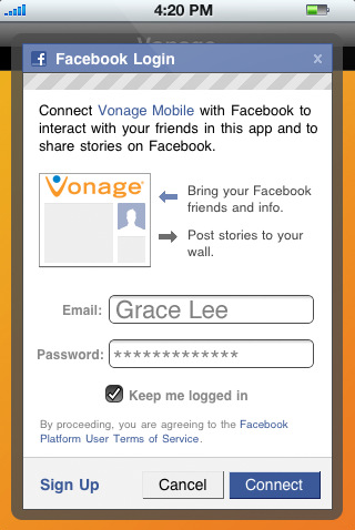 vonage mobile for facebook