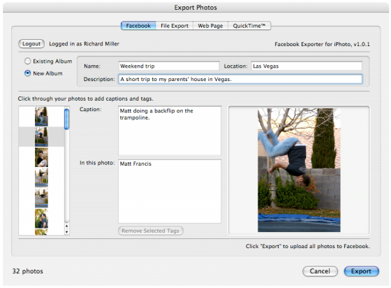 Facebook exporter for iPhoto