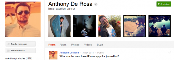 Anthony De Rosa 560x194 Google Plus 20+ Must Follow Personalities to Transform your Stream to Amazing