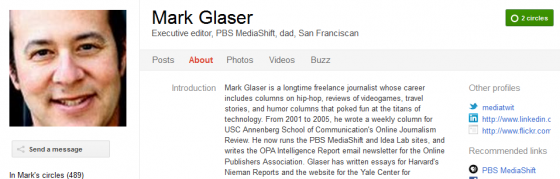 Mark Glaser 560x179 Google Plus 20+ Must Follow Personalities to Transform your Stream to Amazing