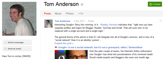 Tom Anderson 560x205 Google Plus 20+ Must Follow Personalities to Transform your Stream to Amazing