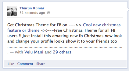 Facebook Spam] Get Christmas Theme for Facebook, Auto Tags Your Friends