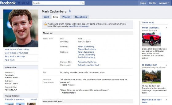 old facebook layout