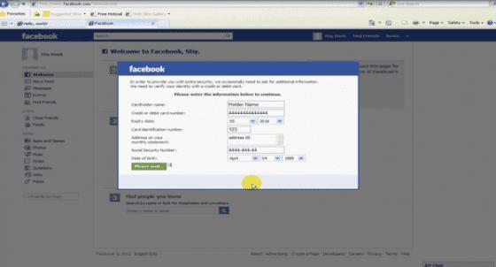 facebook credit card