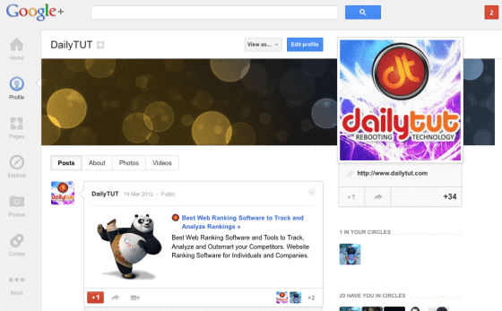 google plus cover pages