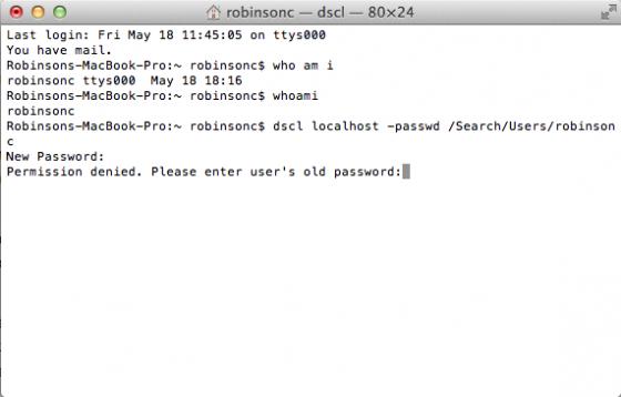 mac os x password reset