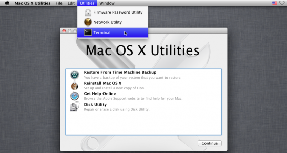 mac os x reset password utility