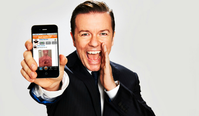 Ricky-Gervais-and-the-Just-Sayin-App