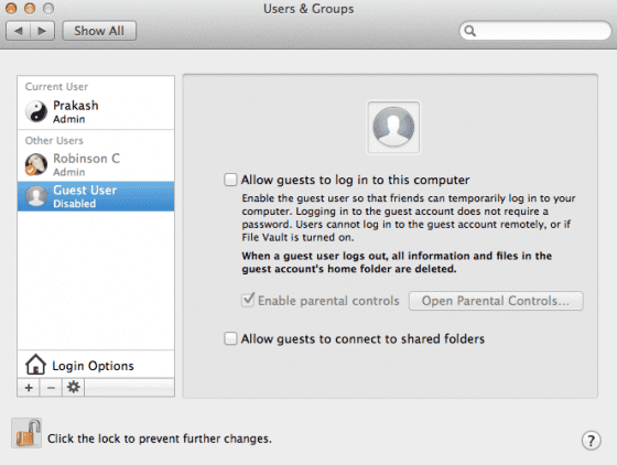 disable guest account 560x422 Guest Account on Mac OS X   Explained