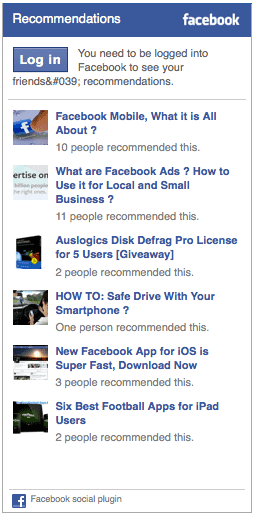 recommendations- facebook
