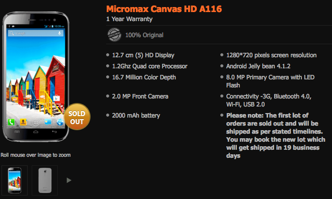 Micromax A116 Canvas HD Android Jelly Bean Mobile Unboxing ...