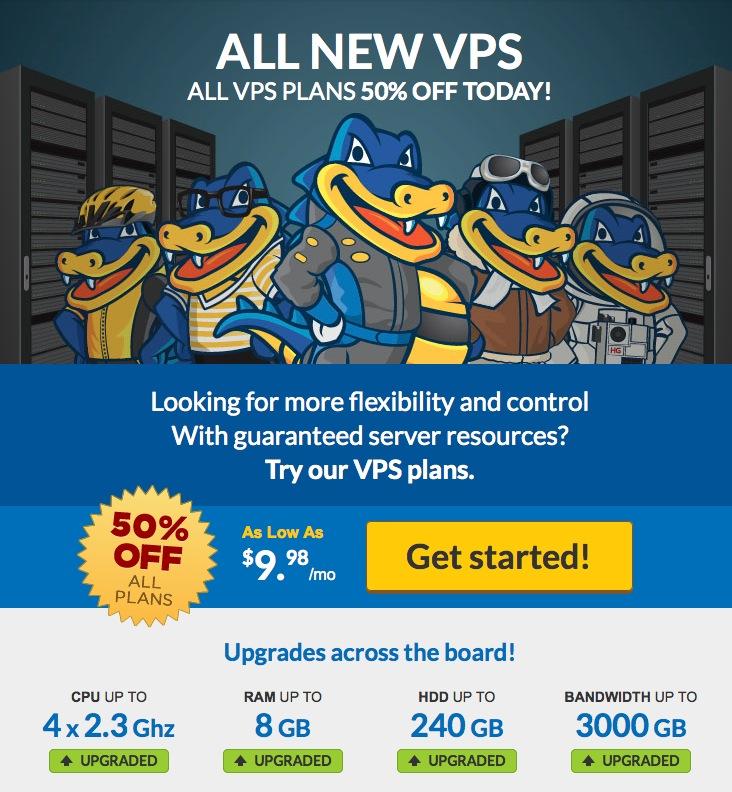 Hostgator 50% Discount Offer on VPS Hosting Plans