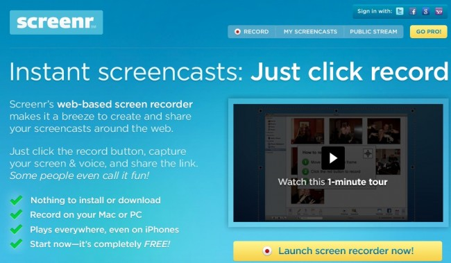 screenr screen capture tool