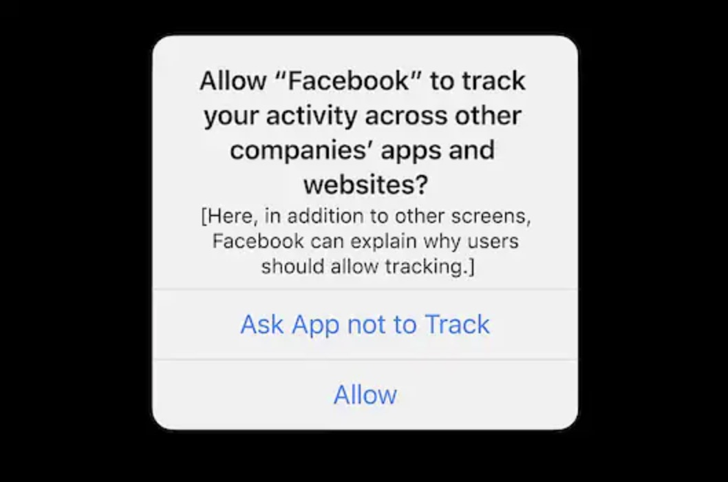 allow facebook track activity ask app not to track prompt
